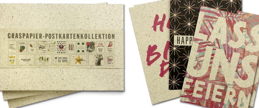 Kartenkollektion aus Graspapier